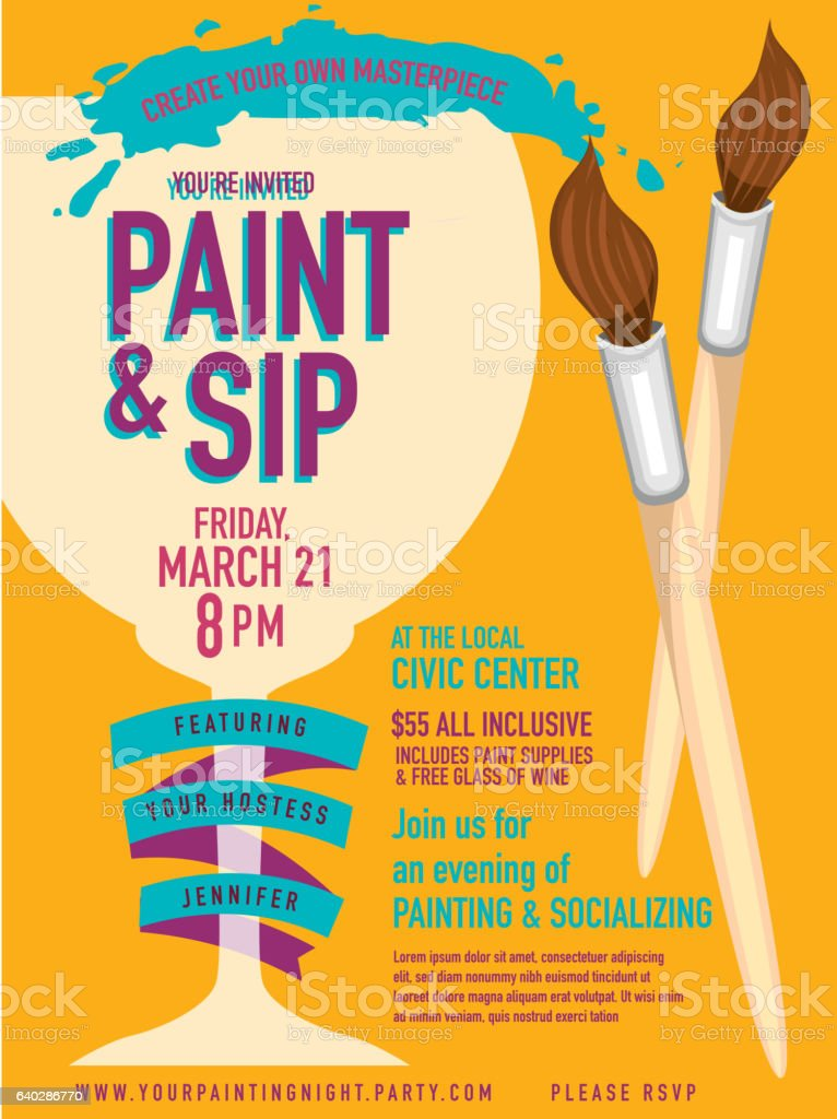 Paint sip night Party invitation with wine glass and brushes vector art illustration