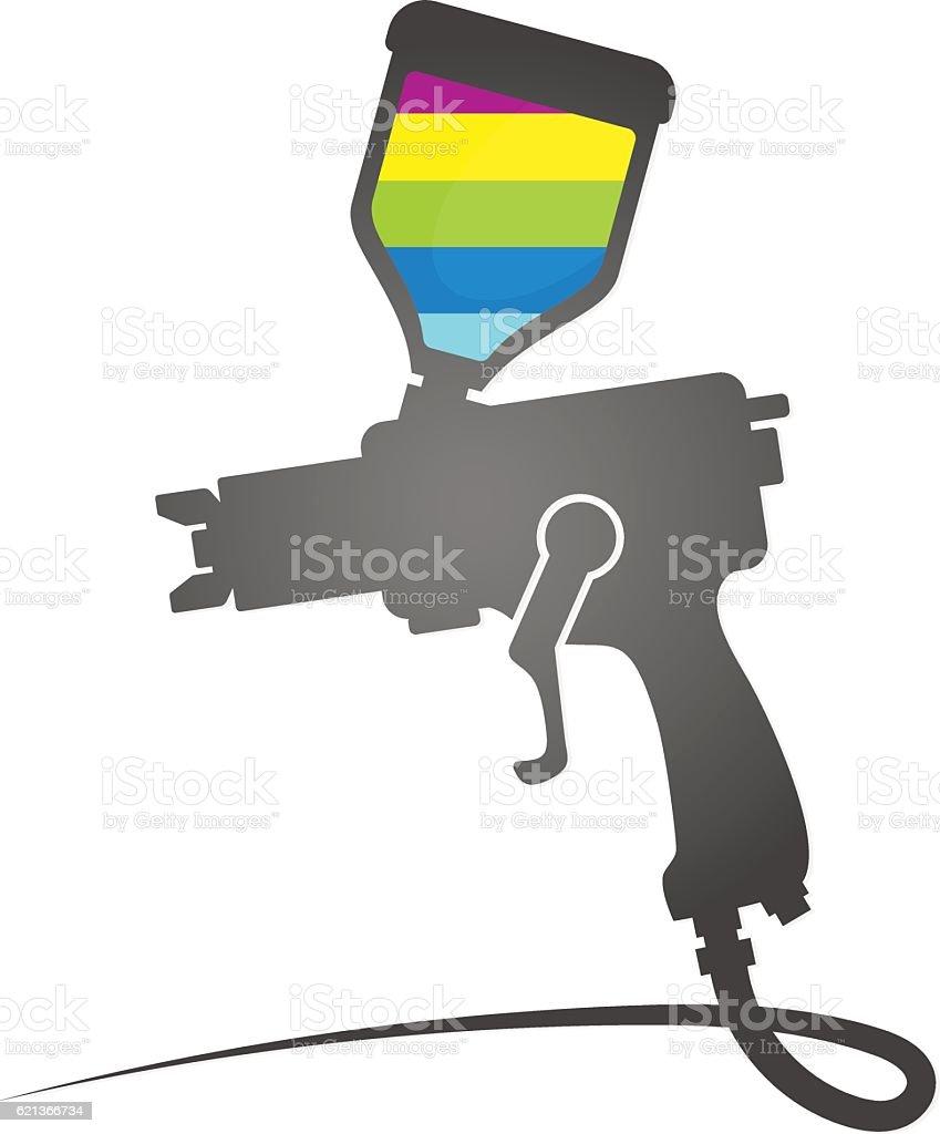Paint spray gun symbol vector art illustration