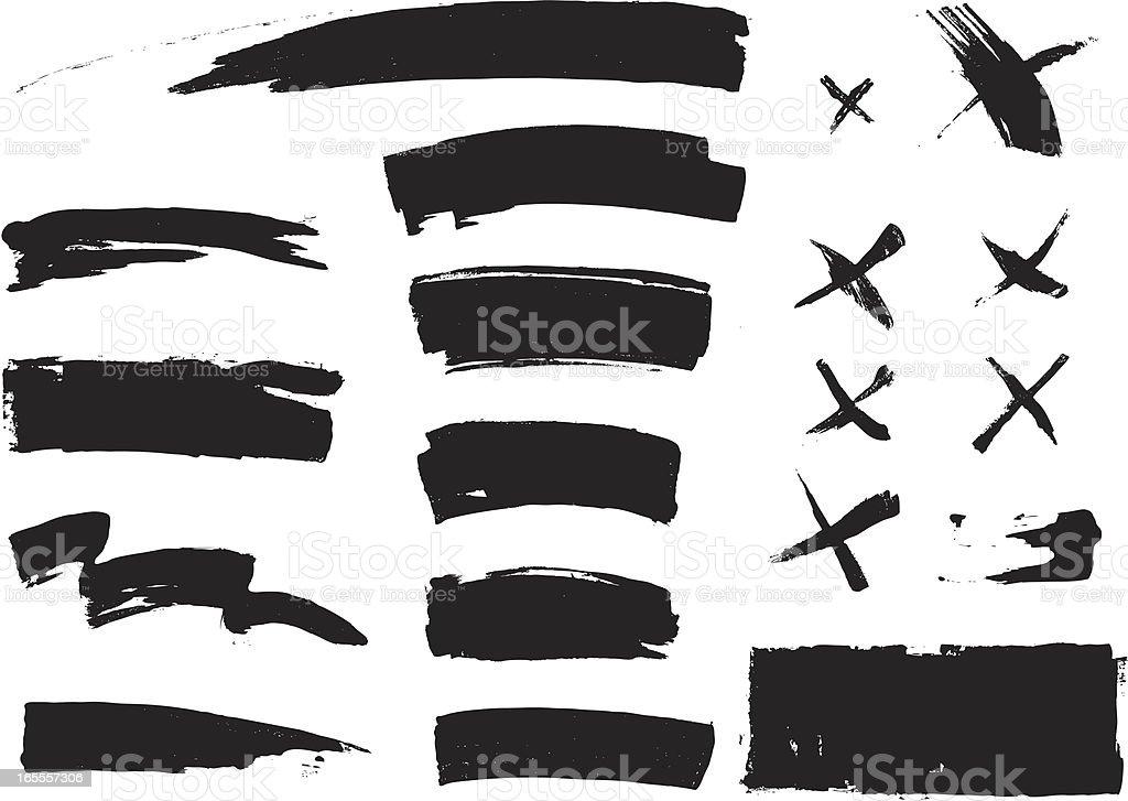 Paint strokes vector art illustration