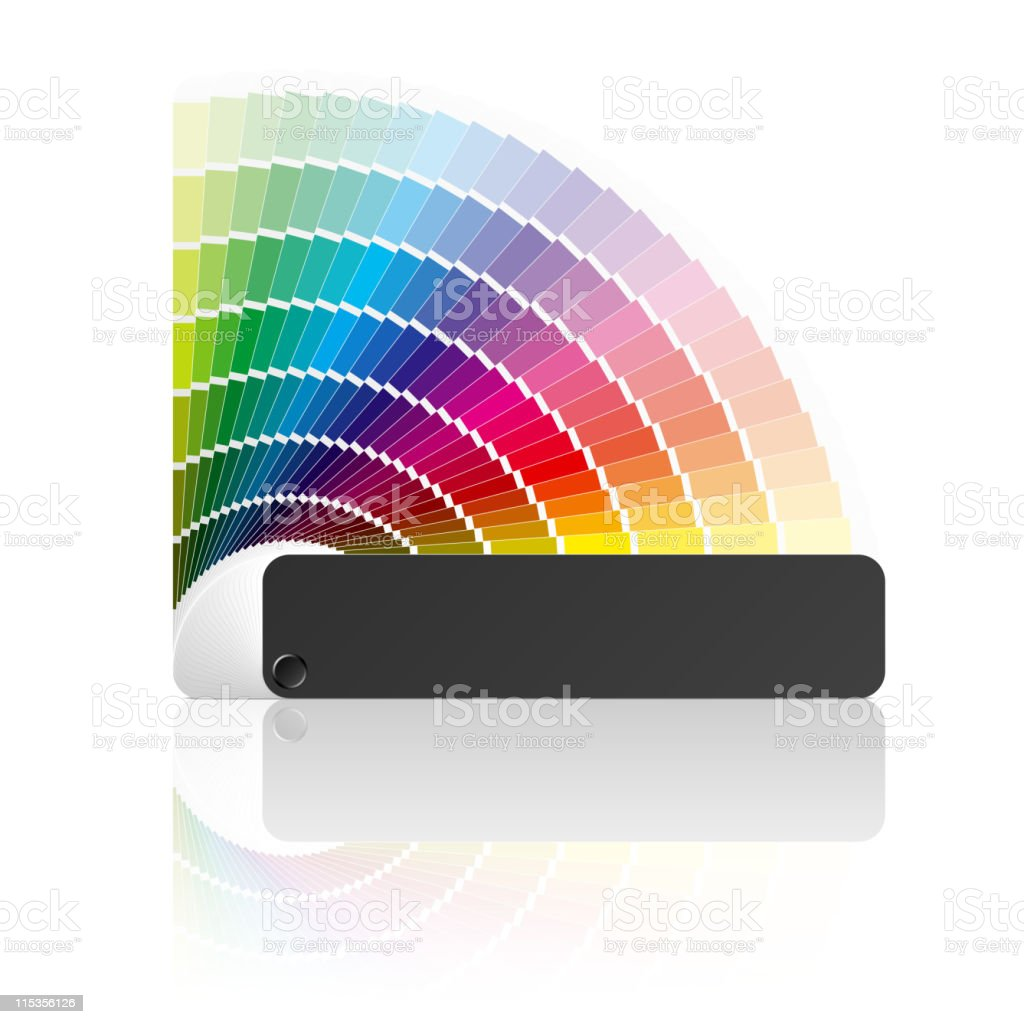 Paint swatch color guide with every color of the rainbow royalty-free stock vector art