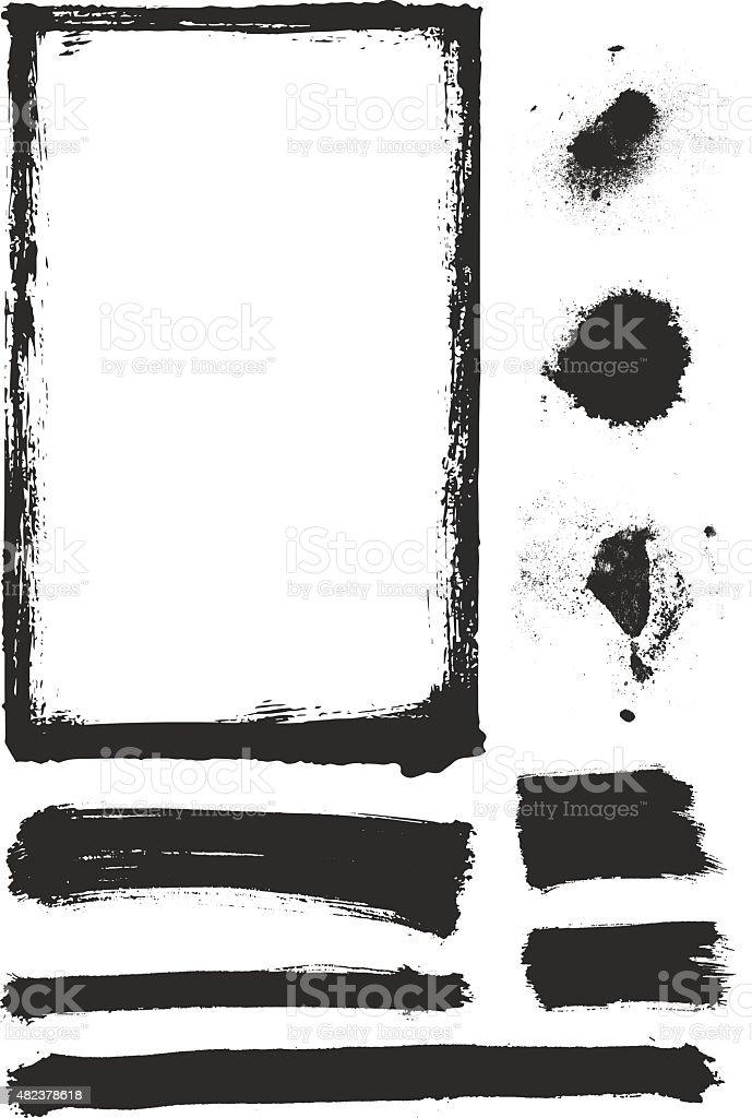 Paint Texture Element Set vector art illustration