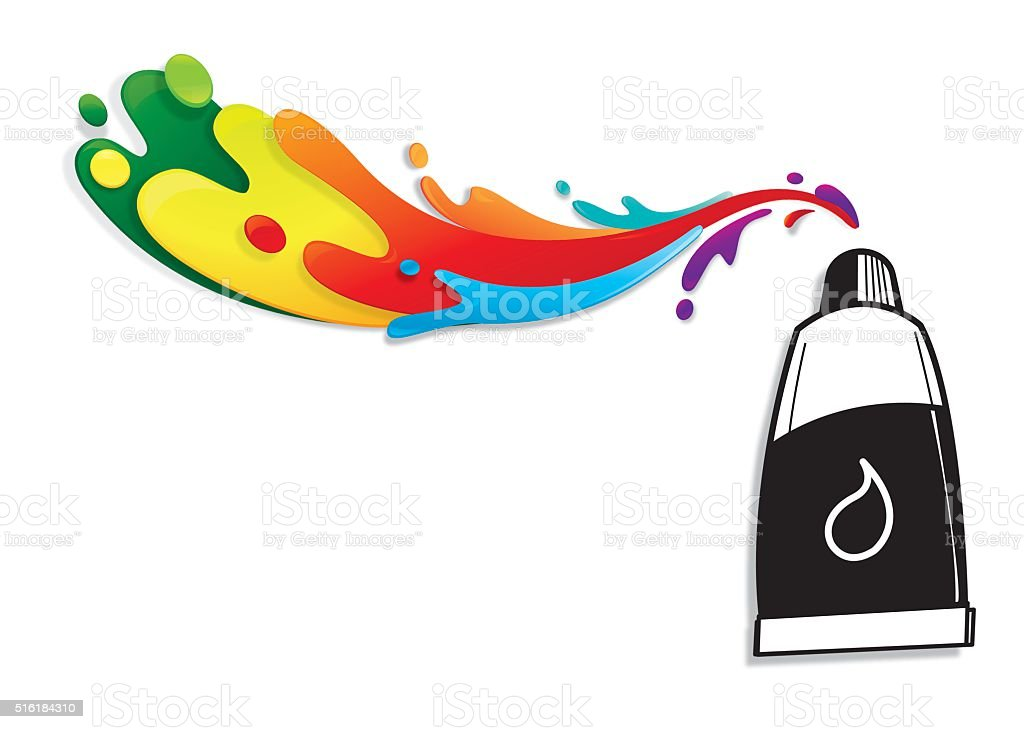 Paint tube with colourful splatters vector art illustration