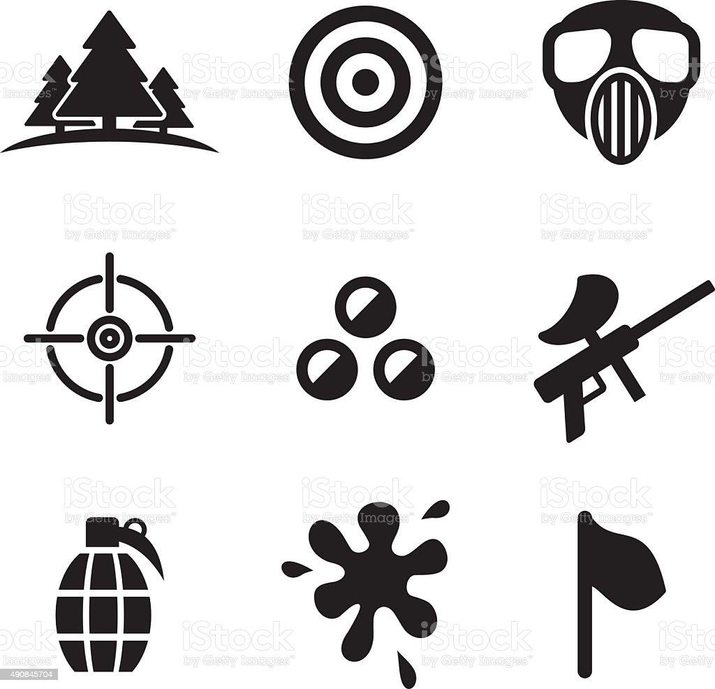 Paintball Icons vector art illustration