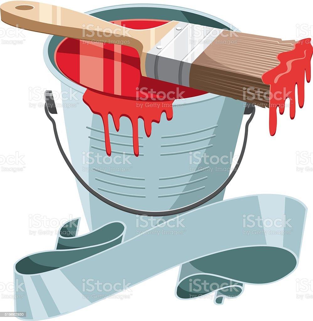 paintbrush and bucket 2 vector art illustration
