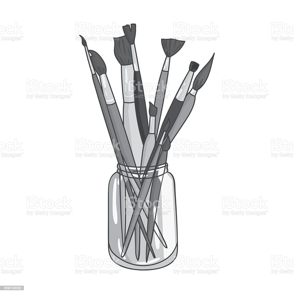 Paintbrushes for painting in the jar icon in monochrome style vector art illustration