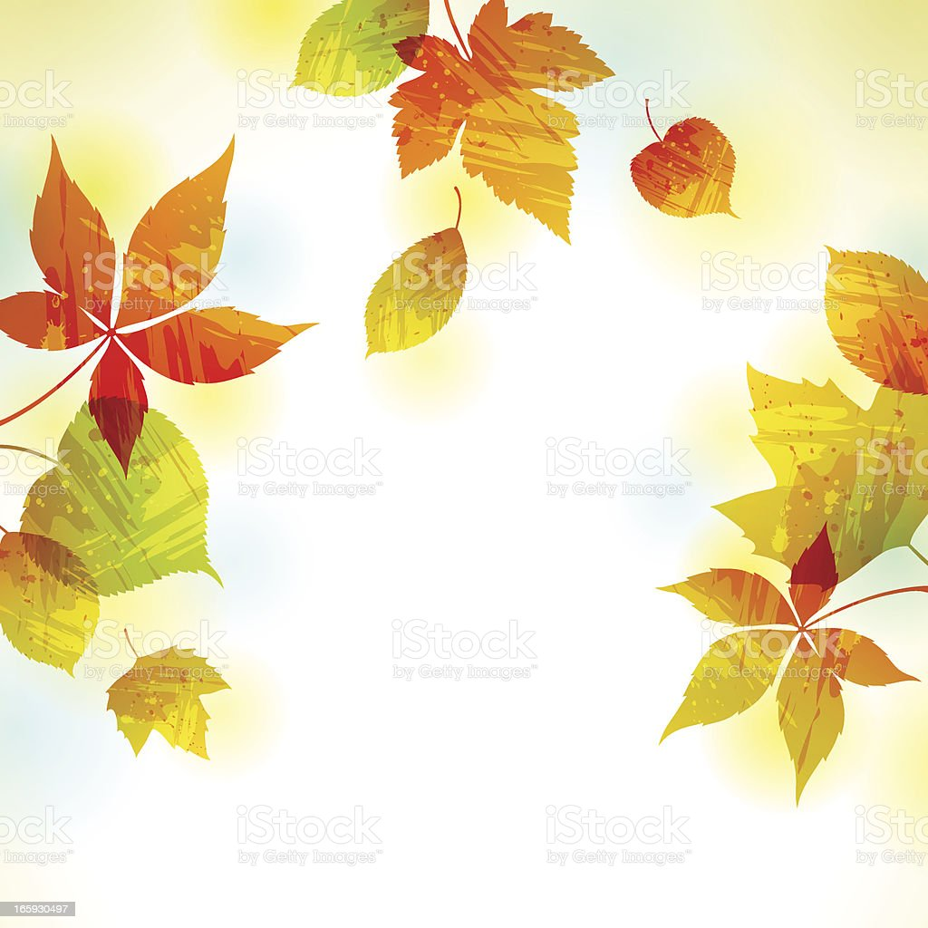 Painted Autumn Leaves Background royalty-free stock vector art