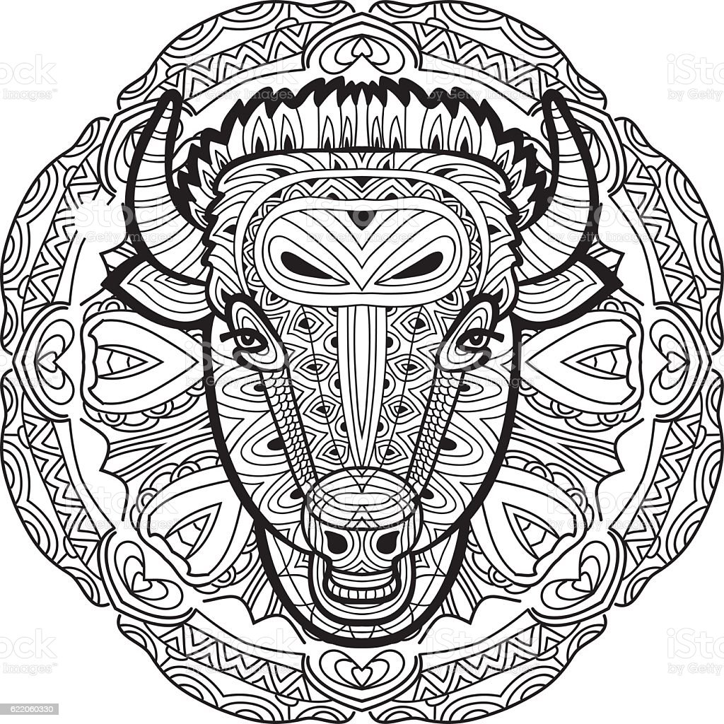 painted bull on a background of circular pattern coloring page