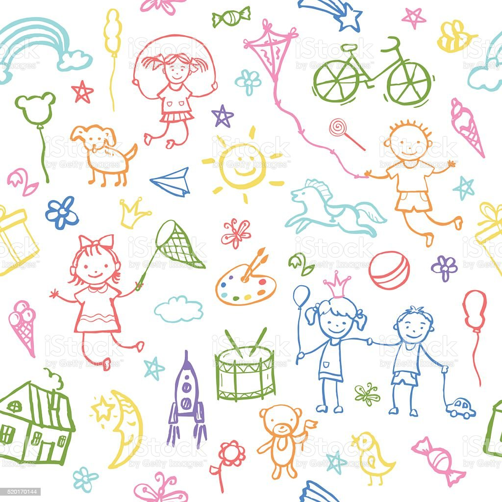 Painted by hand in doodle style seamless pattern. vector art illustration