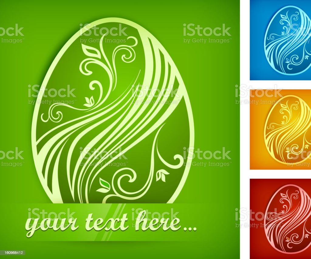Painted Easter egg on color & text royalty-free stock vector art