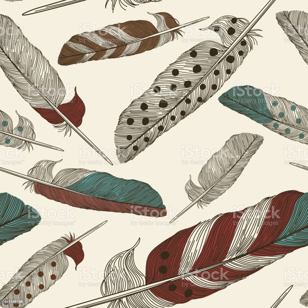 Painted Feather Pattern vector art illustration