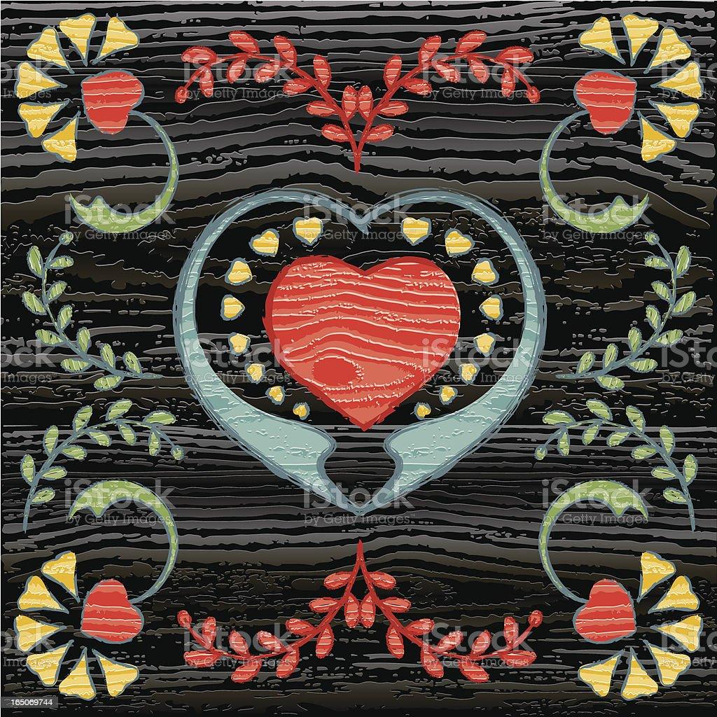 Painted Folk Style Art on Wood royalty-free stock vector art