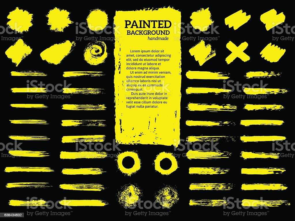 Painted grunge stripes set. vector art illustration
