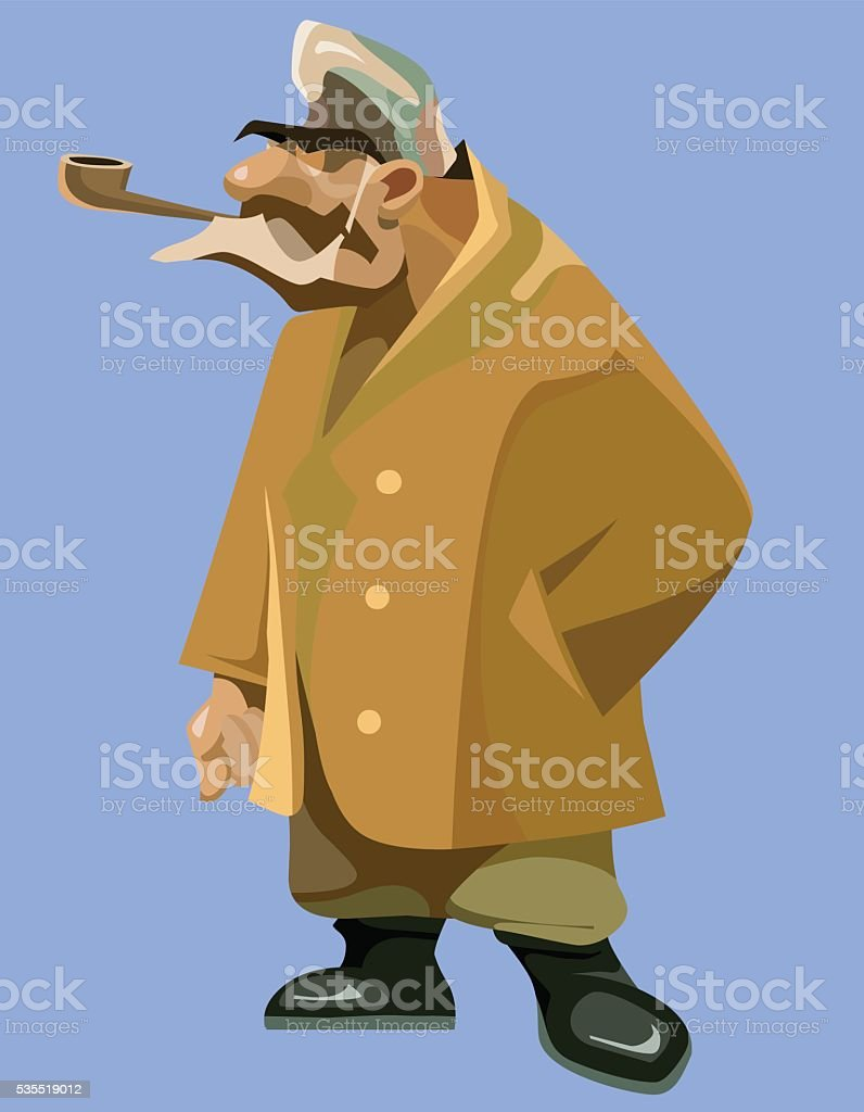 painted pensive grandfather in a sheepskin coat with a pipe vector art illustration