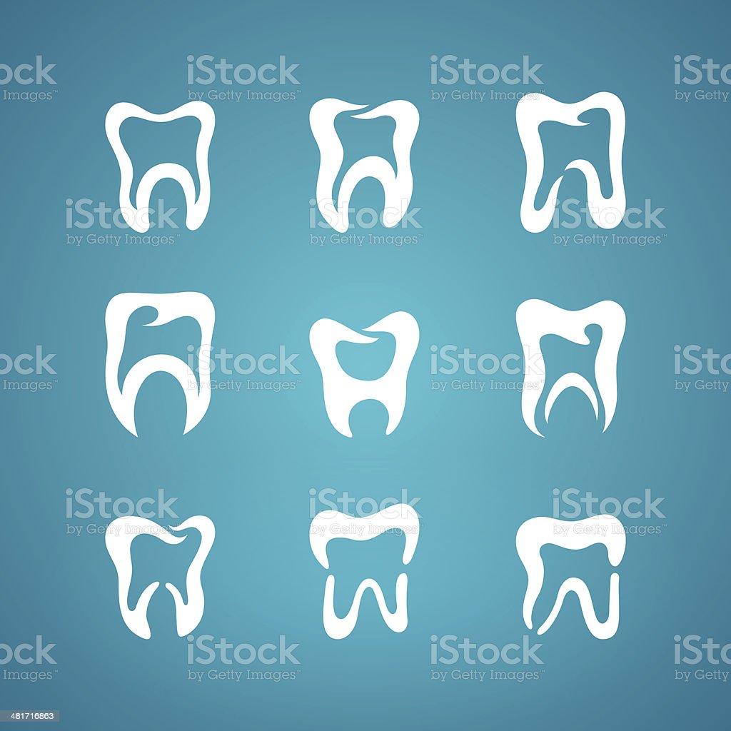 Painted teeth toothpaste icon set vector art illustration