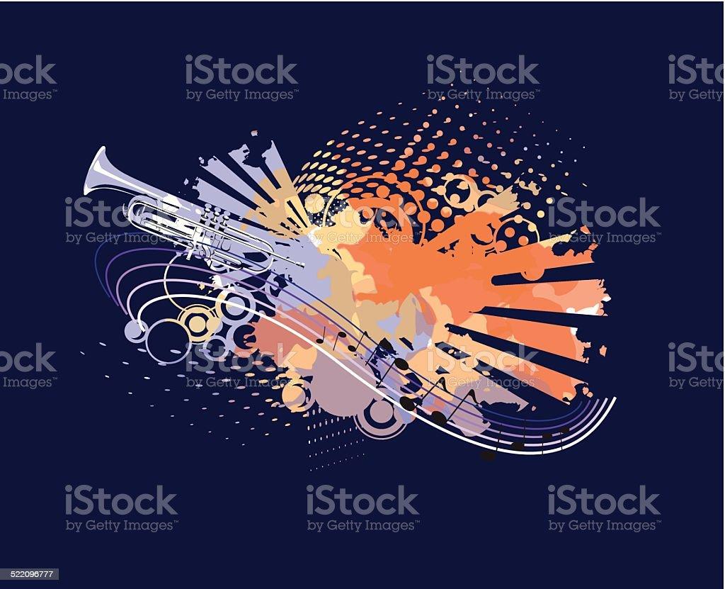 Painted trumpet vector art illustration