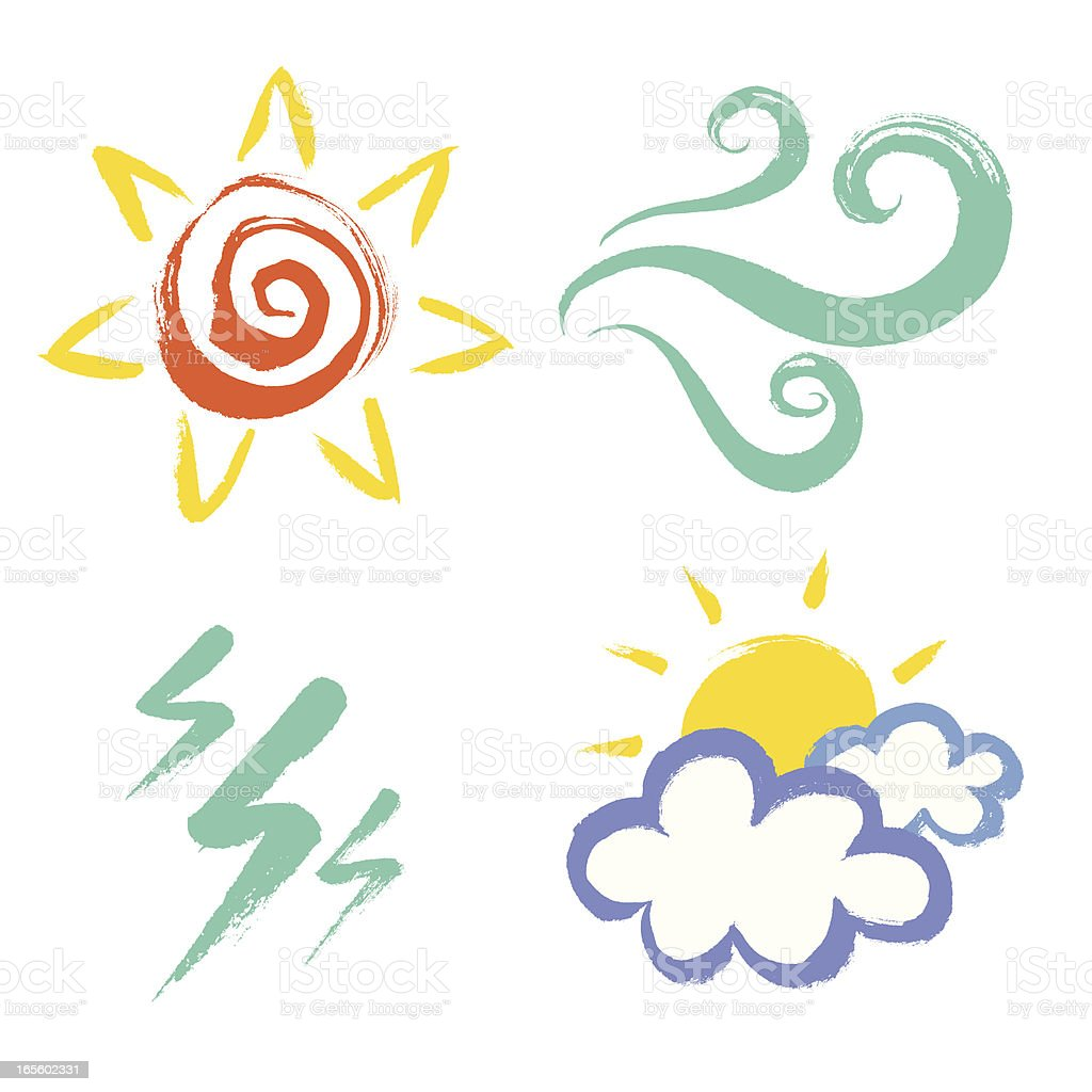 Painted weather icons on a white background royalty-free stock vector art