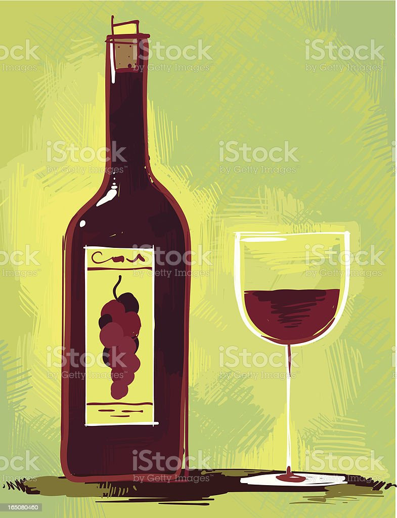 Painted wine scene vector art illustration
