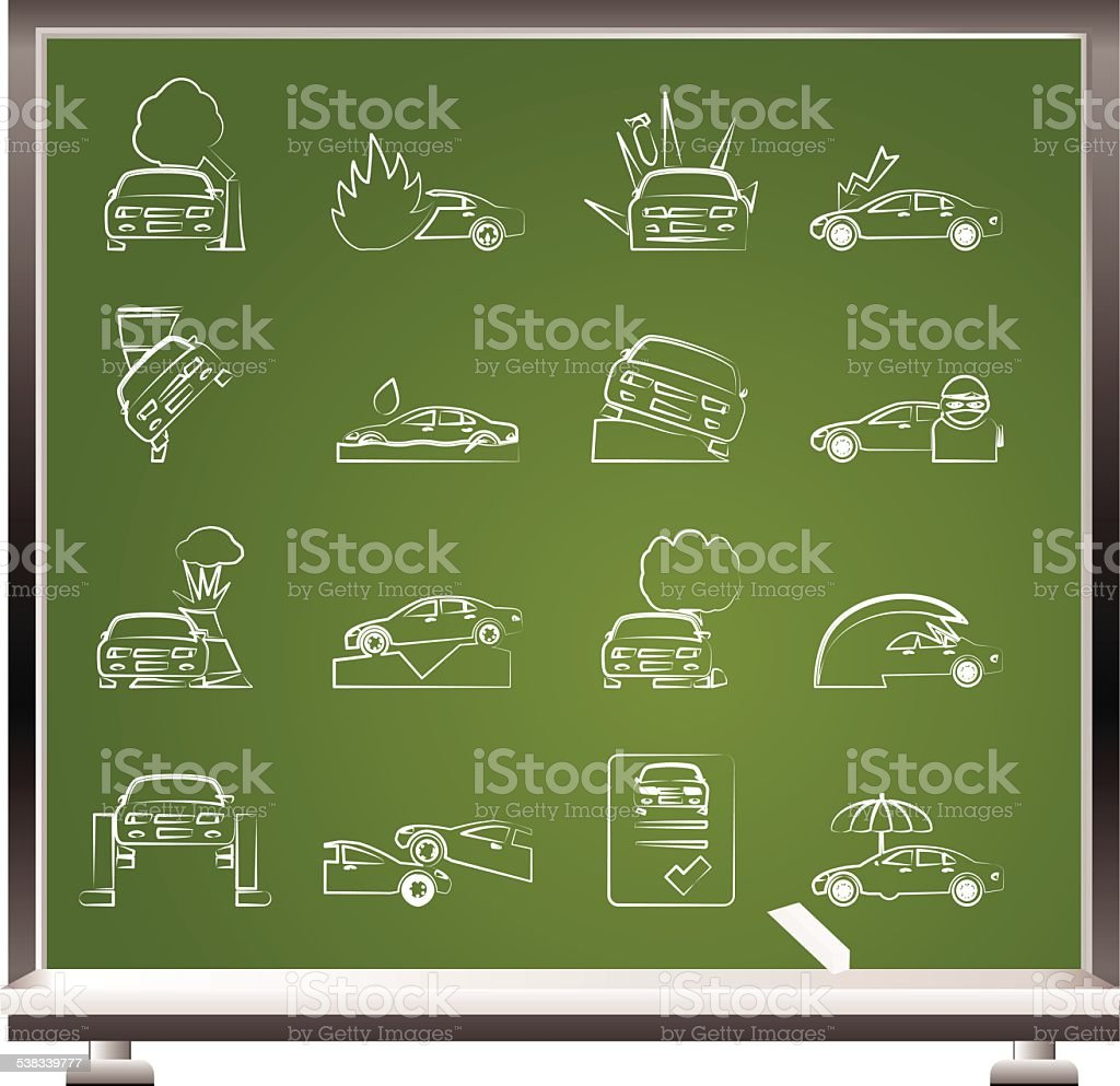 painted with chalk car and transportation insurance and risk icons vector art illustration