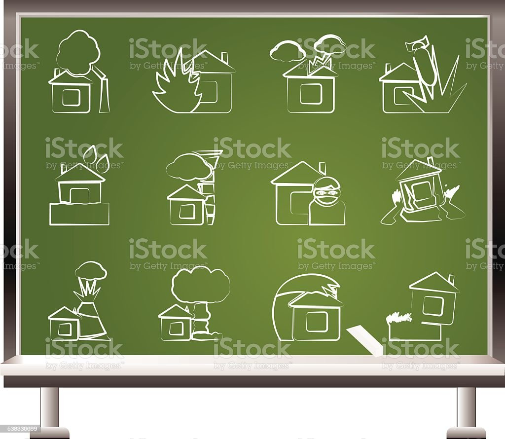 painted with chalk home and house insurance and risk icons vector art illustration