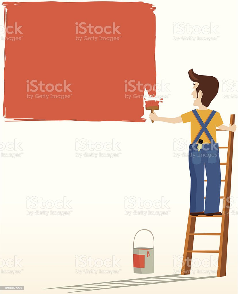 Painter and decorator vector art illustration