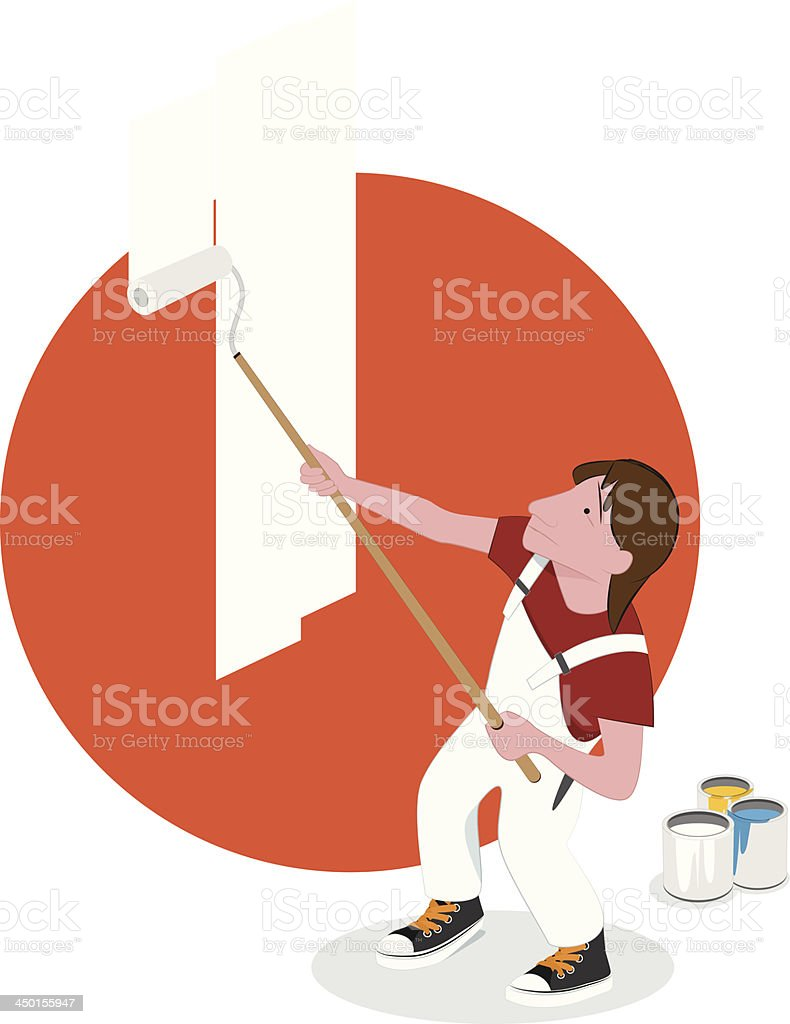 Painter at Work vector art illustration