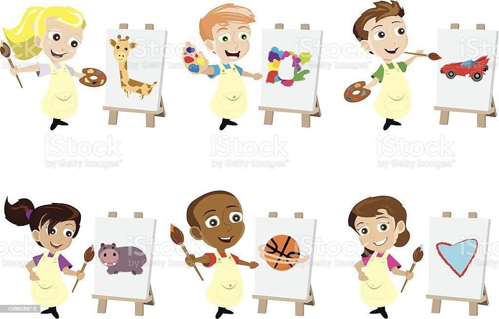 Painter Kids vector art illustration