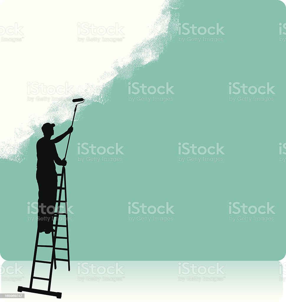 Painter Painting Background, Home Improvement, Paint Roller vector art illustration
