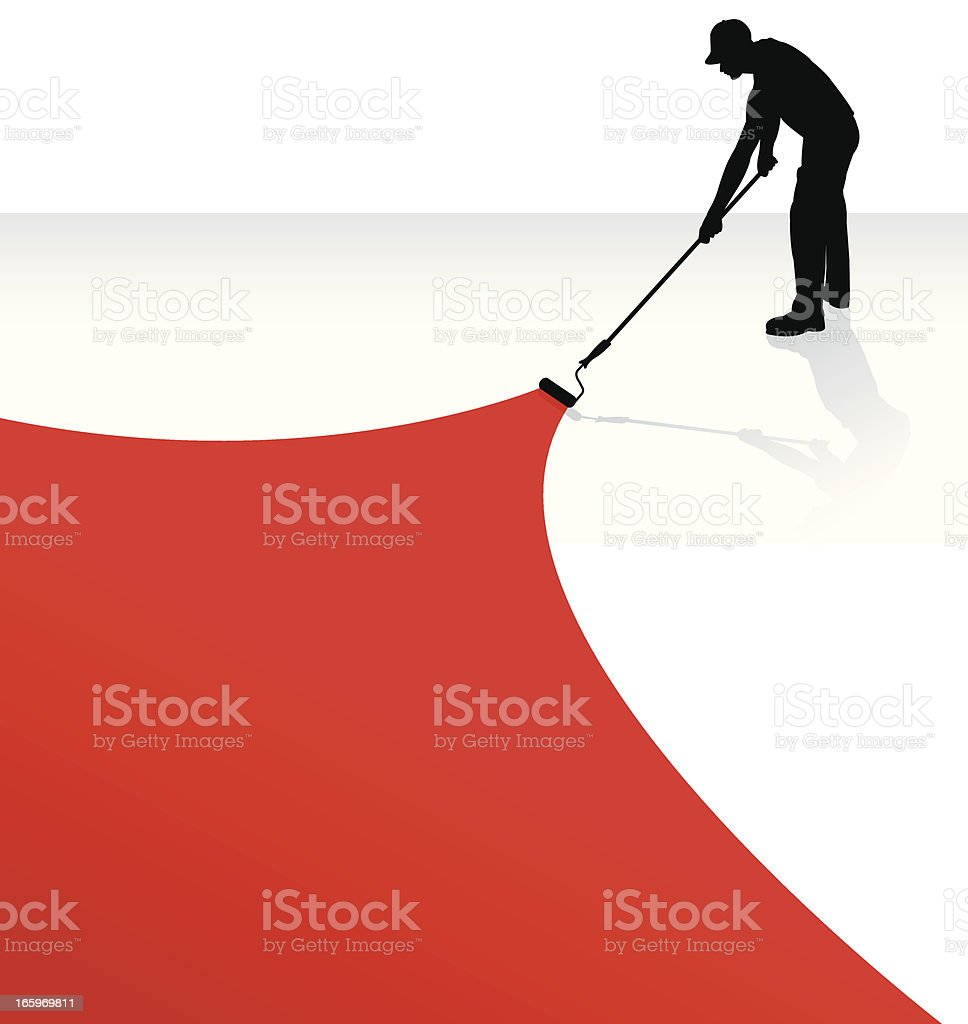 Painter Painting - Home Improvement, Paint Roller royalty-free stock vector art