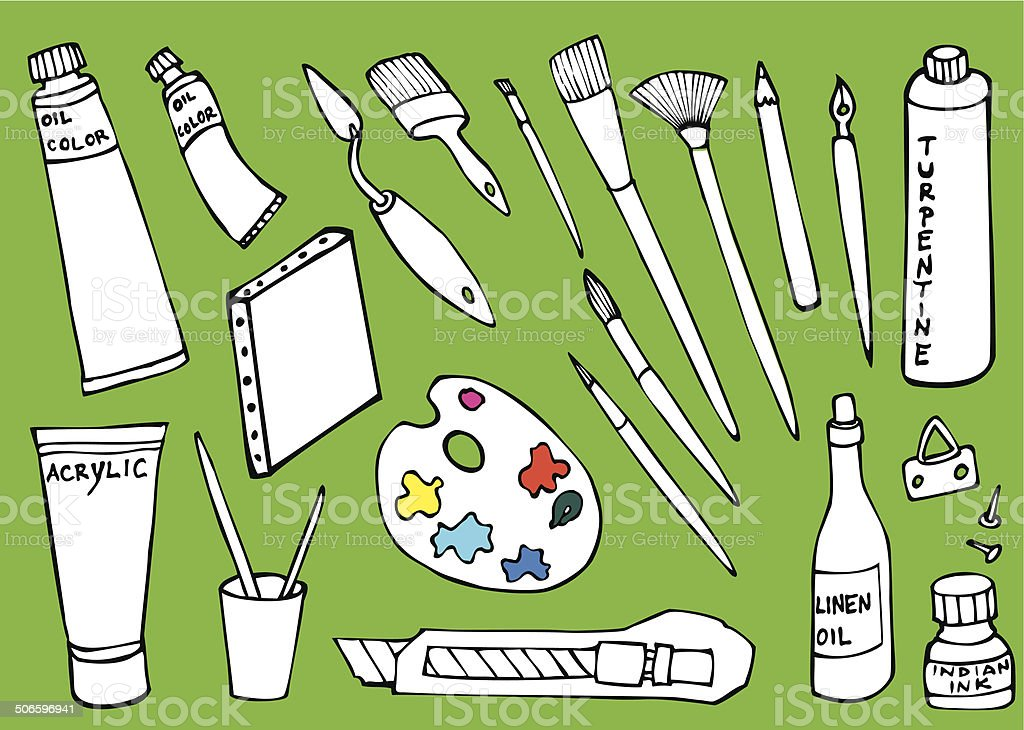 painter tools set vector art illustration