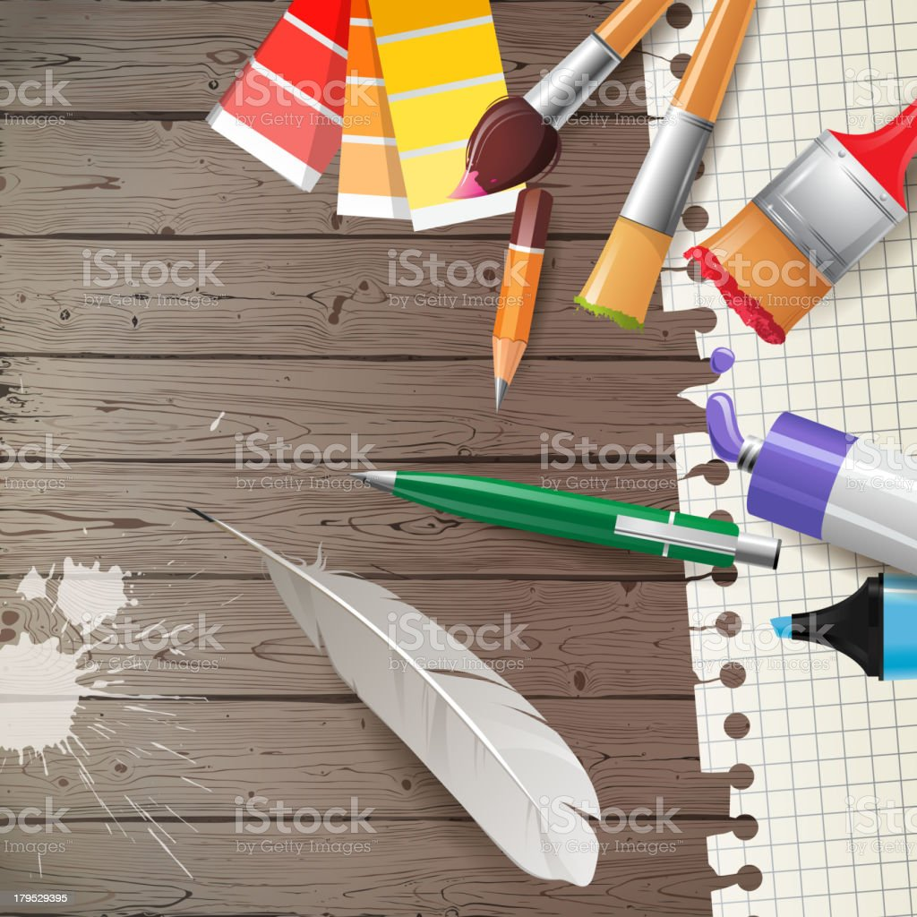 Painter's tools over wooden background royalty-free stock vector art