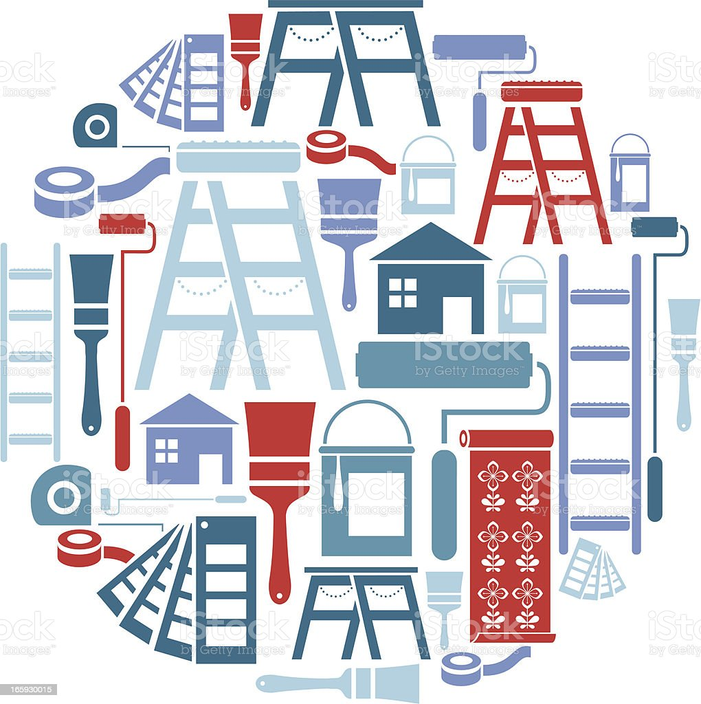 Painting and Decorating Icon Set vector art illustration