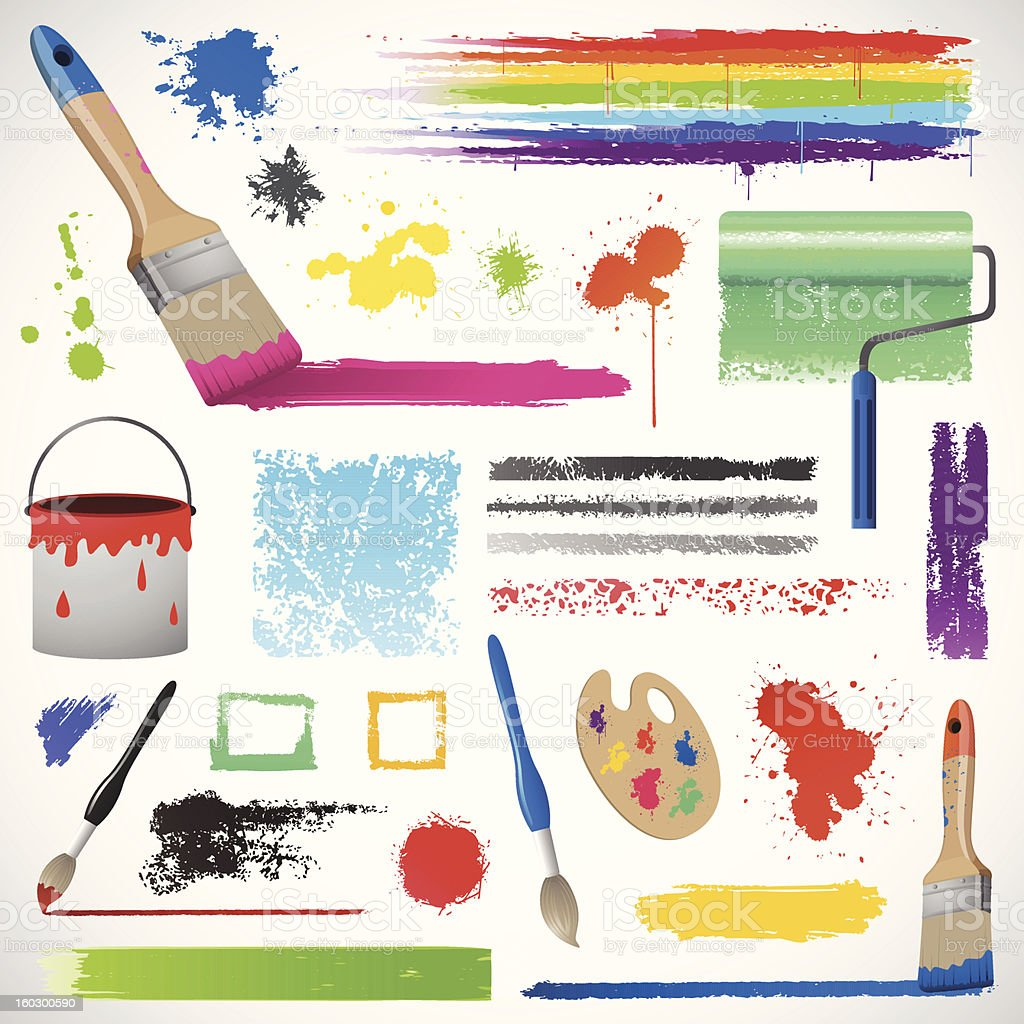 Painting and paint splats elements royalty-free stock vector art