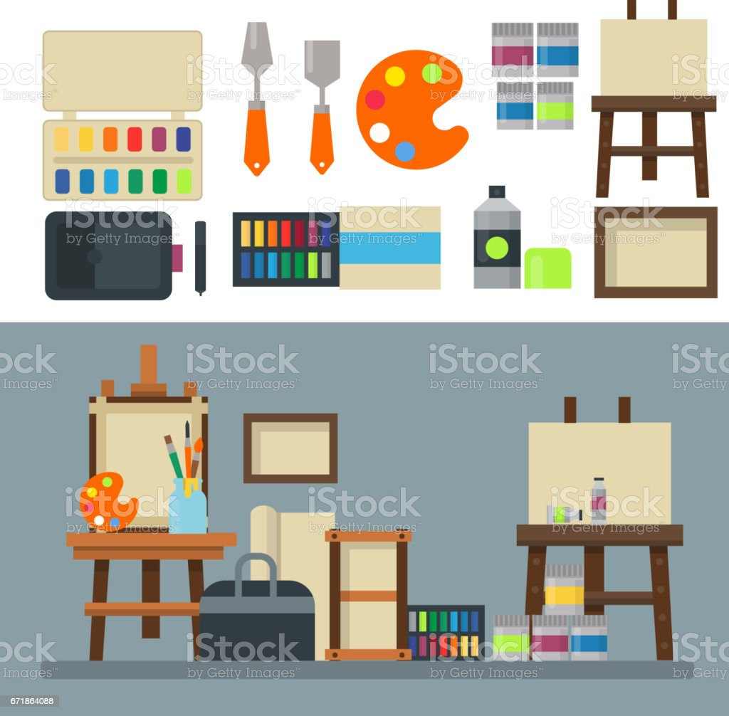 Painting art tools palette icon set flat vector illustration details stationery creative paint equipment vector art illustration