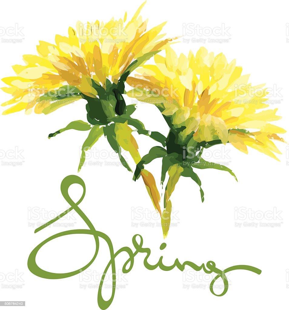 Peinture dessin pissenlits jaune stock vecteur libres de - Dessin fleur pissenlit ...