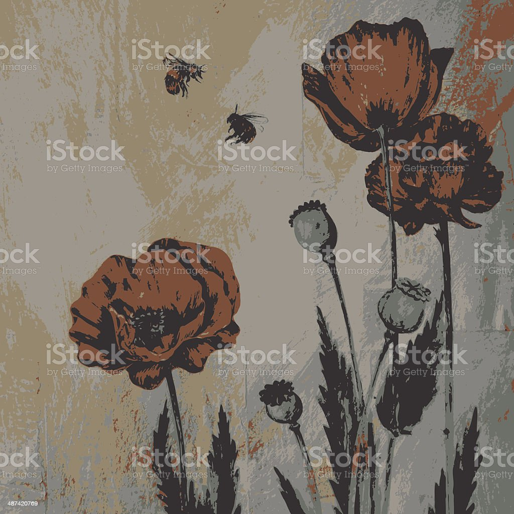 painting floral card royalty-free stock vector art