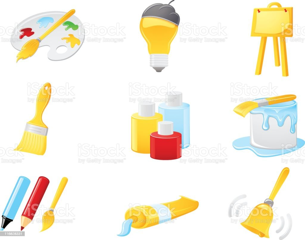 Painting icon set royalty-free stock vector art