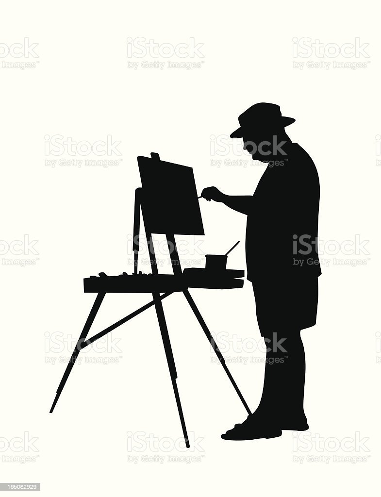 Painting Landscapes  Vector Silhouette royalty-free stock vector art