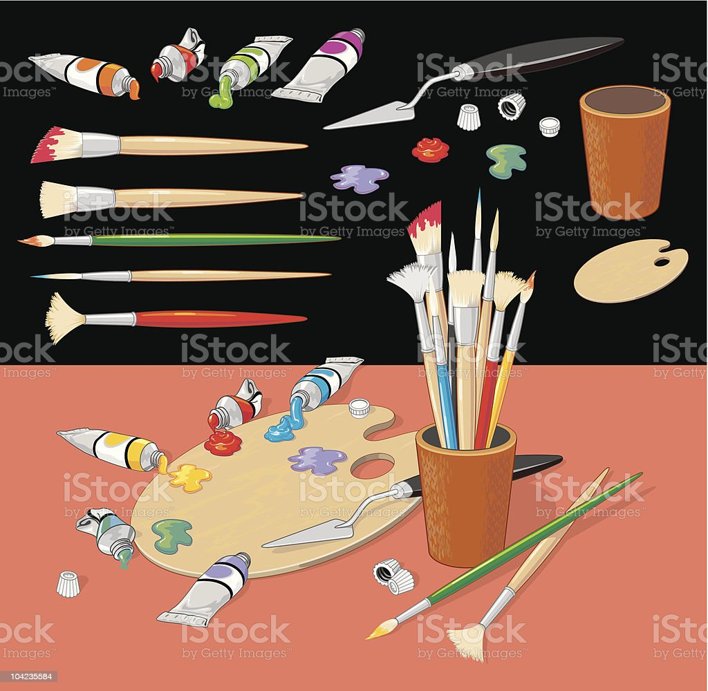 Painting Objects Collection royalty-free stock vector art