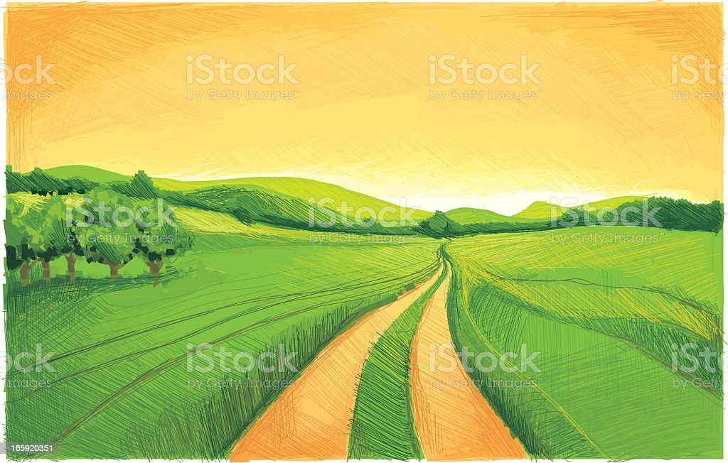 Painting of green fields with a lonely trail in between royalty-free stock vector art