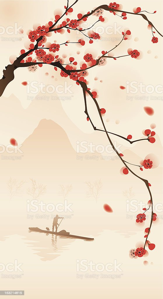 A painting of plum blossom in spring in an oriental style  royalty-free stock vector art