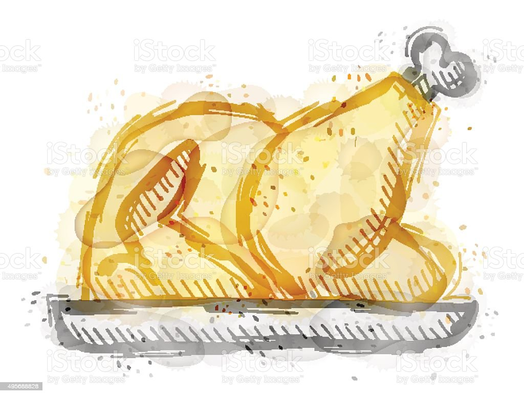 Painting of roast turkey, chicken with watercolor effect vector art illustration