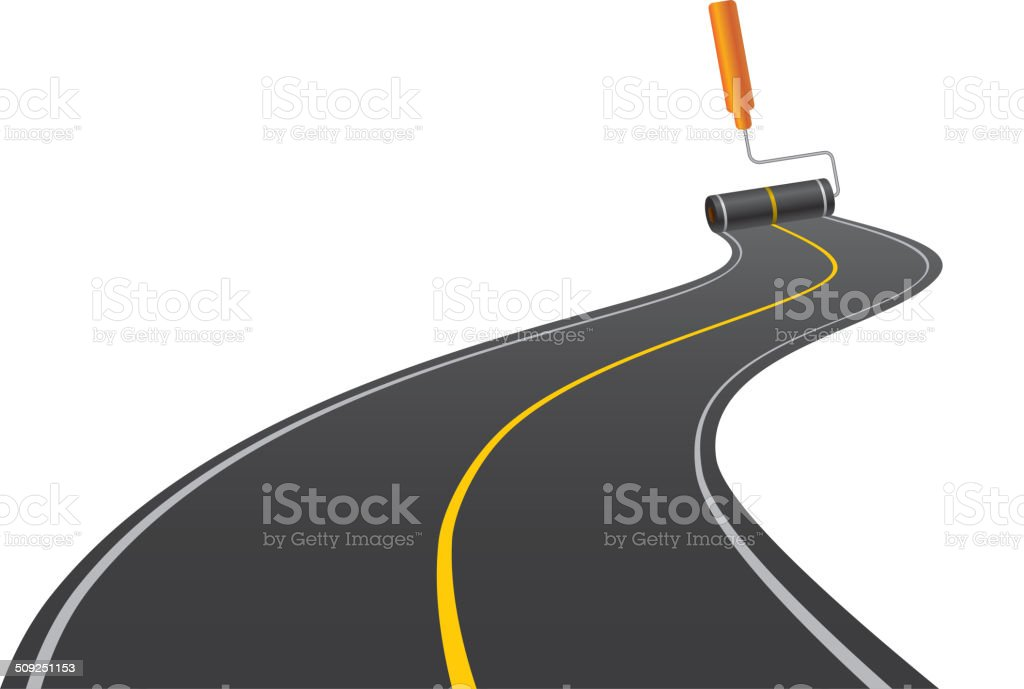Painting road vector art illustration