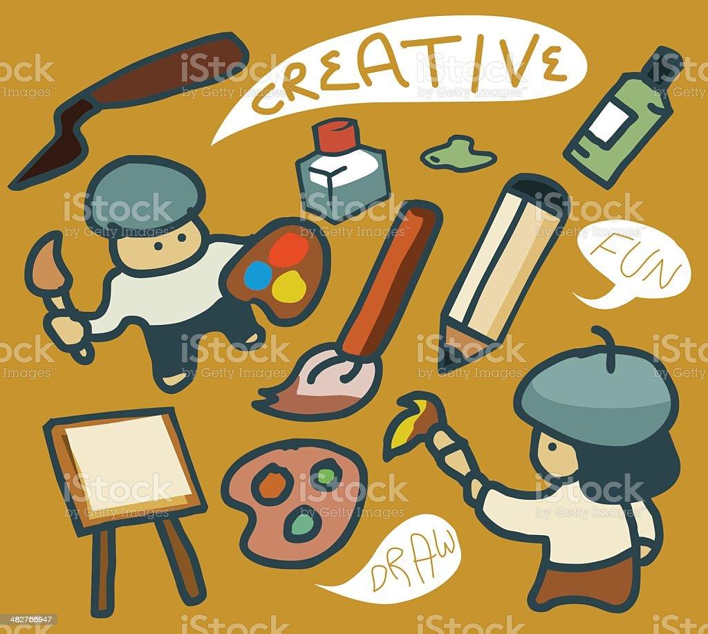 Painting Set Vector vector art illustration