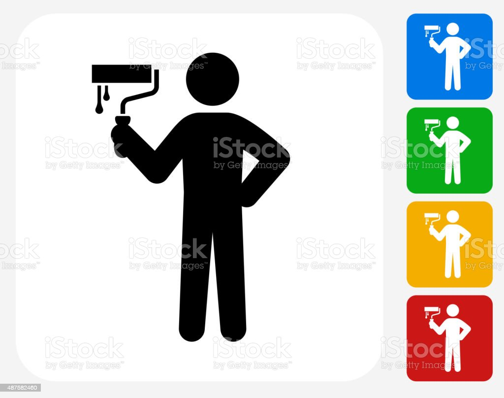 Painting Stick figure Icon Flat Graphic Design vector art illustration