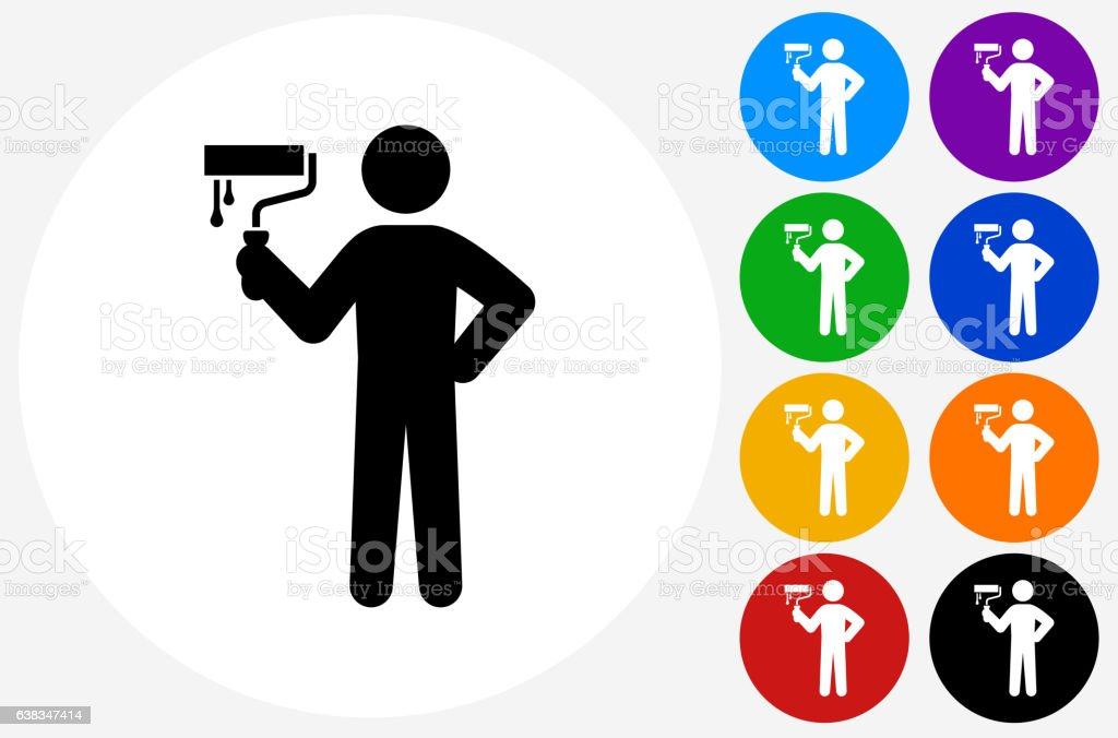 Painting Stick figure Icon on Flat Color Circle Buttons vector art illustration