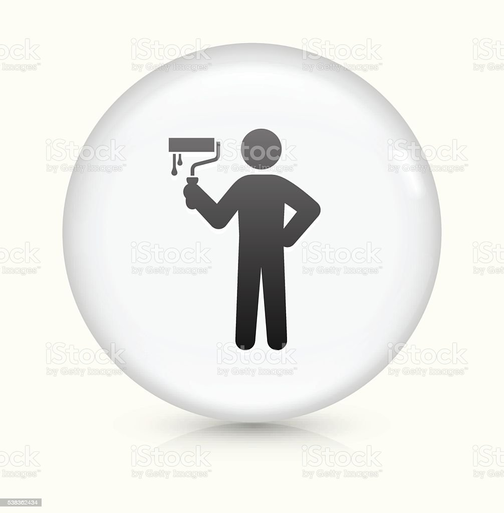 Painting Stick figure icon on white round vector button vector art illustration