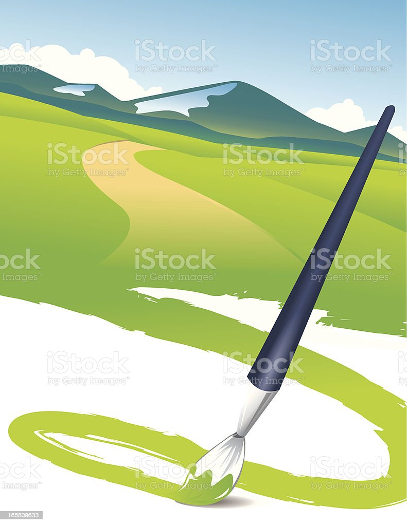 Painting the beautiful scenery royalty-free stock vector art