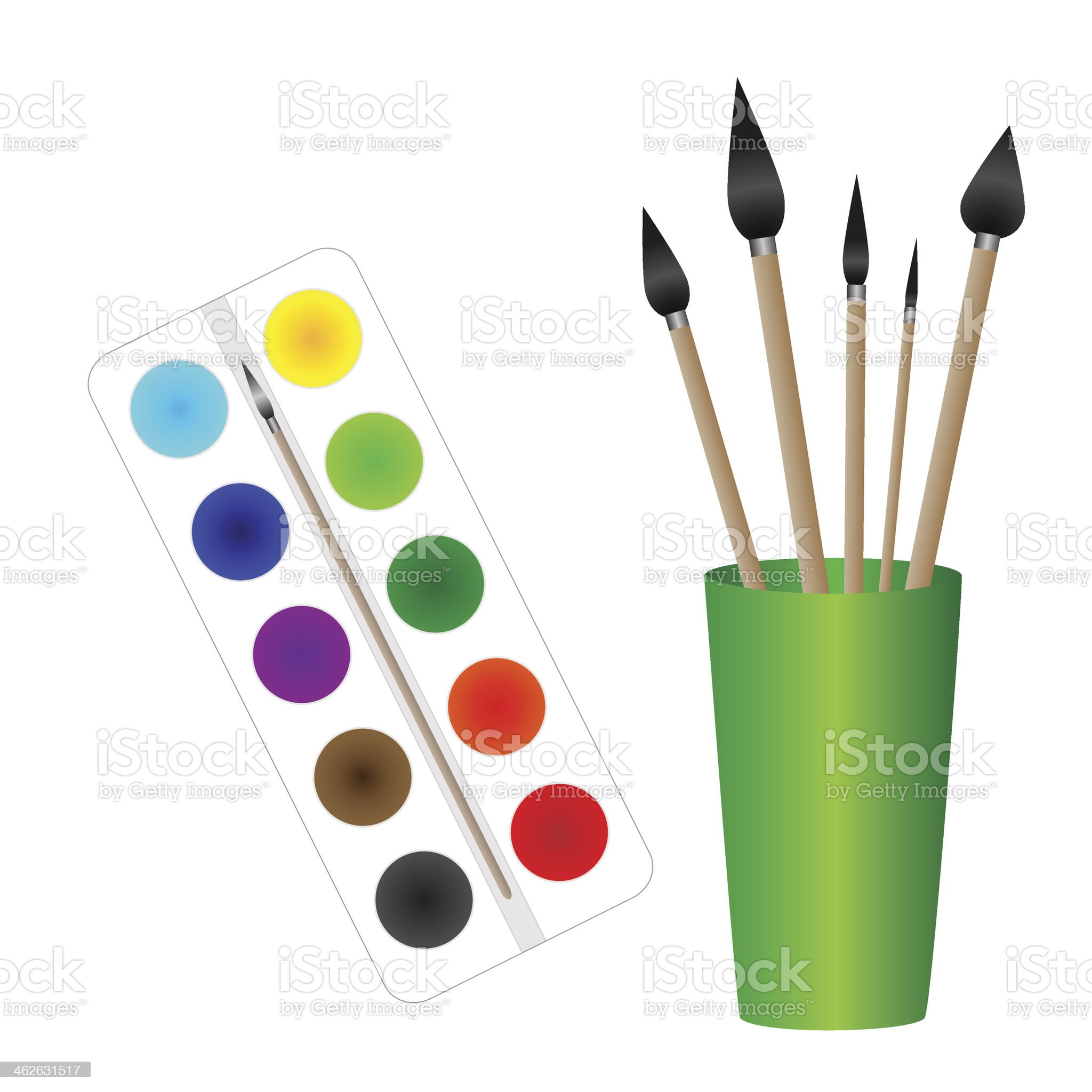 paints and brushes royalty-free stock vector art