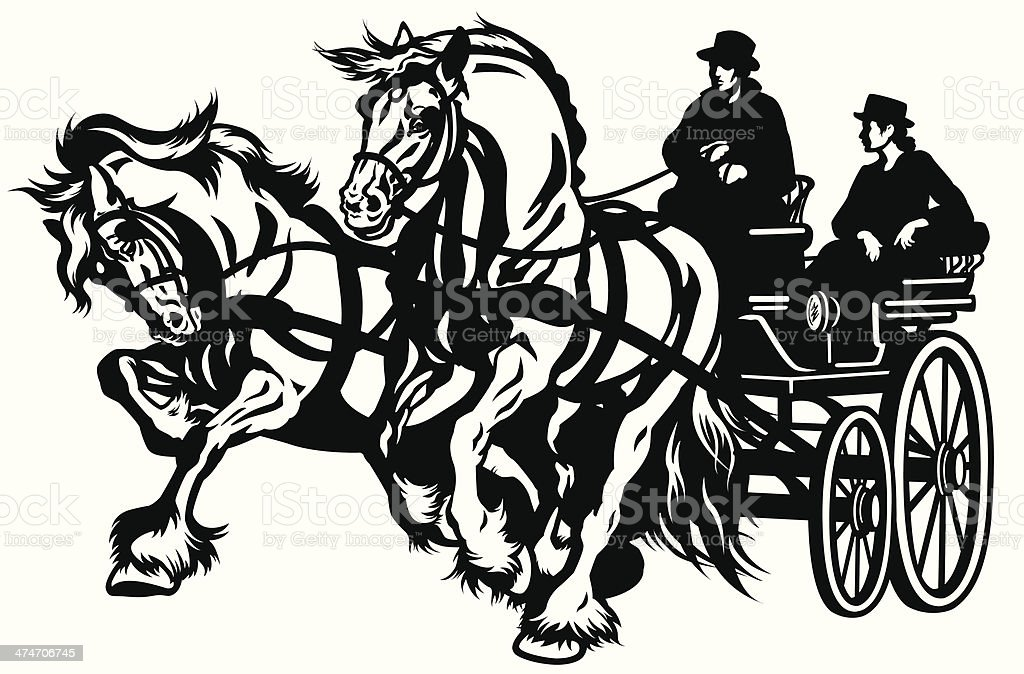 pair horses drawn carriage vector art illustration