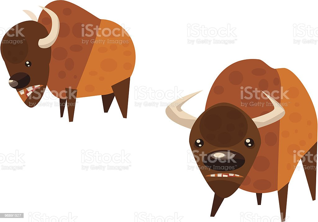 Pair of Bison royalty-free stock vector art